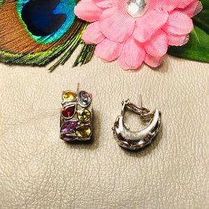 Vintage multi-gemstone and sterling earrings